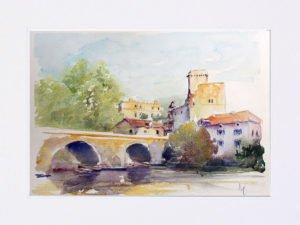 Aquarelle de Bourdeilles en Dordogne